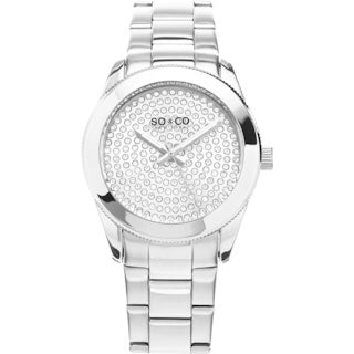 SO&CO New York Women's Madison Quartz Stainless Steel Link Crystal Bracelet Watch