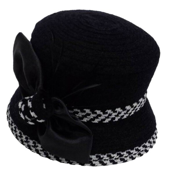 Swan Women's Black/ White Boucle Chenille Ribbon Hat