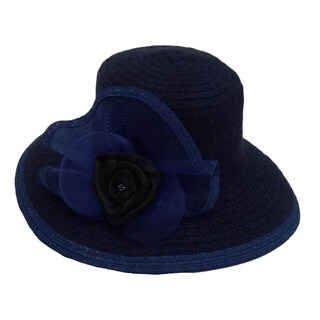 Women's Royal/ Black Wide Brim Chenille Ribbon Hat