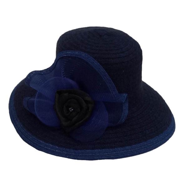Women's Royal/ Black Wide Brim Chenille Ribbon Hat