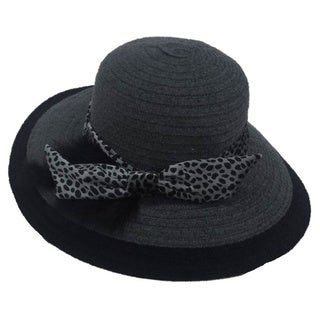 Swan Women's Wide Brim Grey Chenille Ribbon Hat
