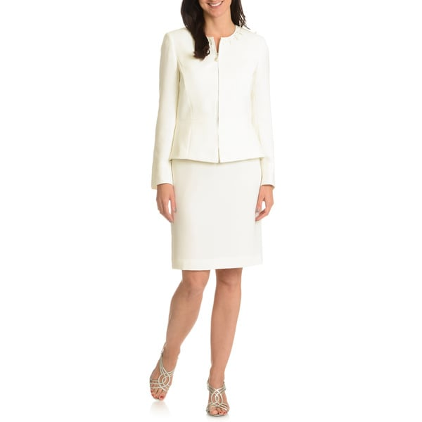 Tahari Arthur S. Levine Women's Peplum Jacket 2-piece Skirt Suit