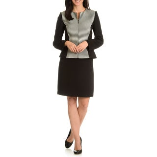 Tahari Arthur S. Levine Women's Houndstooth Inset 2-Piece Skirt Suit