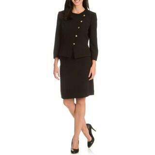 Tahari Arthur S. Levine Women's Black Collarless 2-Piece Skirt Suit