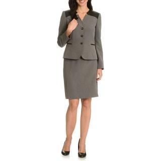 Tahari Arthur S. Levine Women's Inverted Notch Collar Skirt Suit
