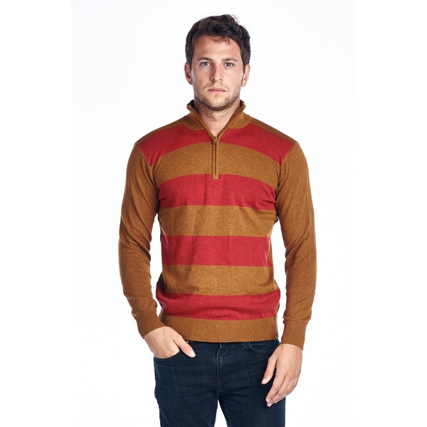Men's Quarter Zip Striped Sweaters Max-01-Red&Gold
