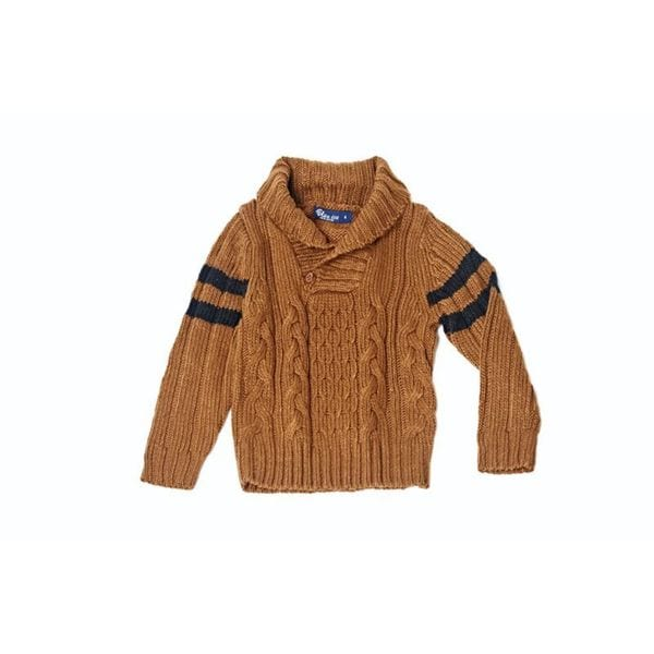 Girl's Knitted Coffee Button Sweater