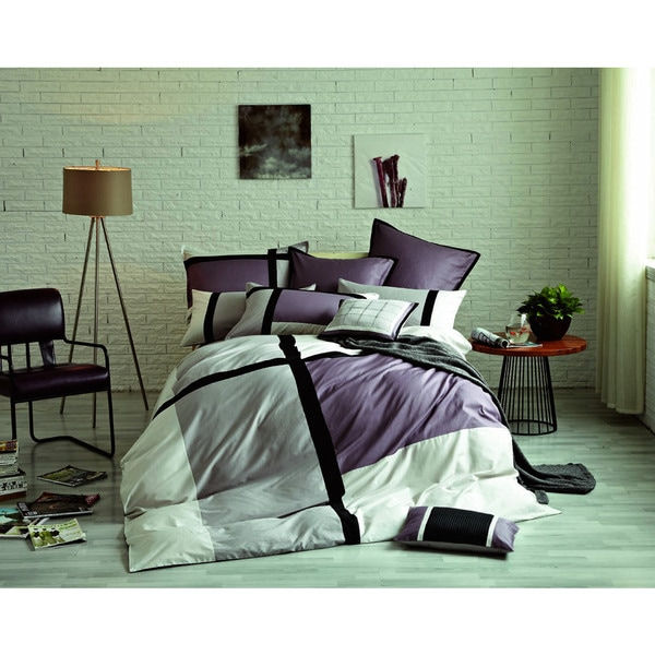Gingham 3-piece Purple/ Grey Comforter Set