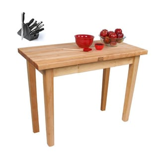 John Boos 48 x 24 Country Maple Table C02-TLR with Towel Rack, and J. A. Henckles 13-piece Knife Block Set