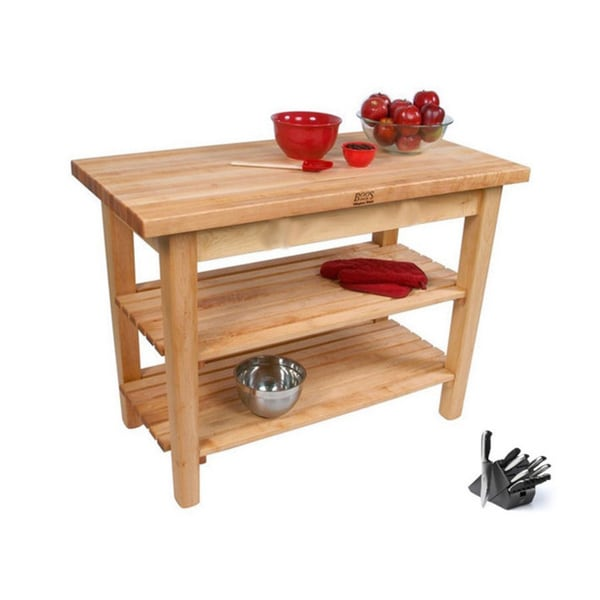 John Boos Country Maple Work Table with Henckels 13-piece Knife Block Set