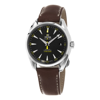 Omega Men's 231.12.42.21.01.001 'Seamaster150' Black Dial Brown Leather Strap Chronograph Swiss Automatic Watch