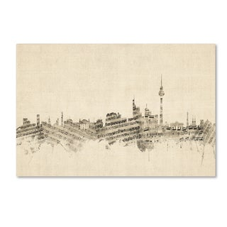 Michael Tompsett 'Berlin Germany Skyline Sheet Music' Canvas Wall Art