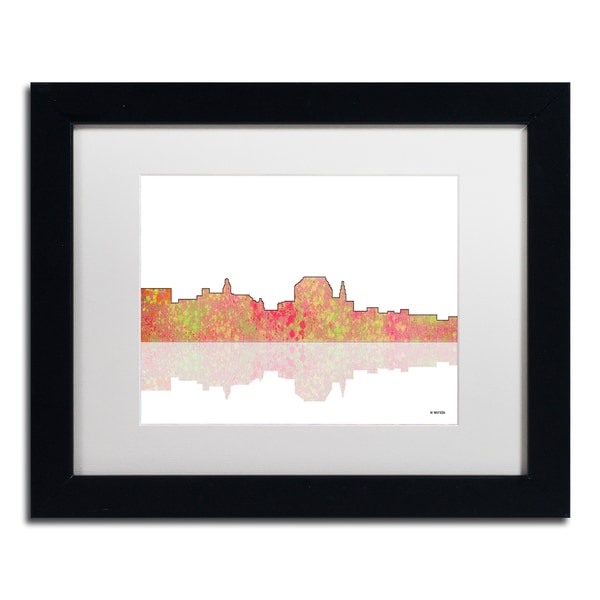 Marlene Watson 'Augusta Maine Skyline' White Matte, Black Framed Wall Art