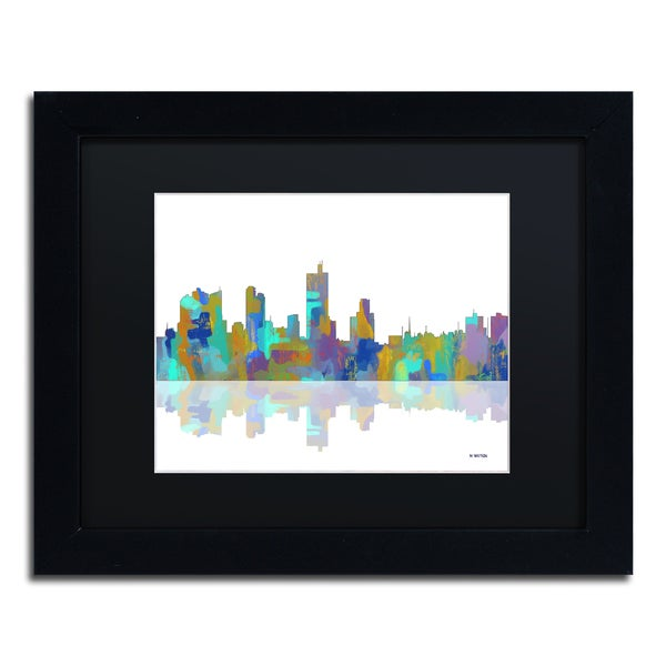 Marlene Watson 'Fort Worth Texas Skyline' Black Matte, Black Framed Wall Art