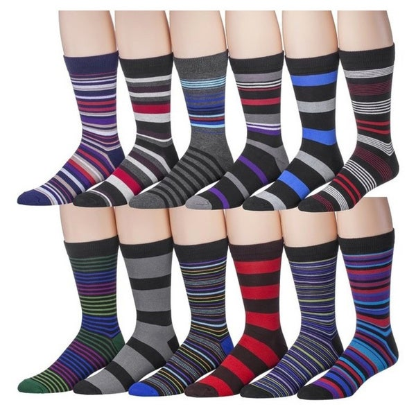 Men's Assorted Striped Designer Dress Socks - 12 Pairs