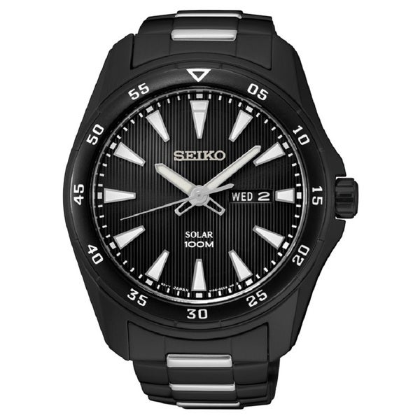 Seiko Men's SNE401 Stainless Black Ion Steel Solar 100M Water Resistant Watch