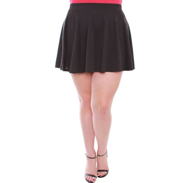 Juniors' Black Plus Size Skater Skirt