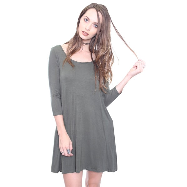Beston Juniors' Olive Strappy Back Trapeze Dress