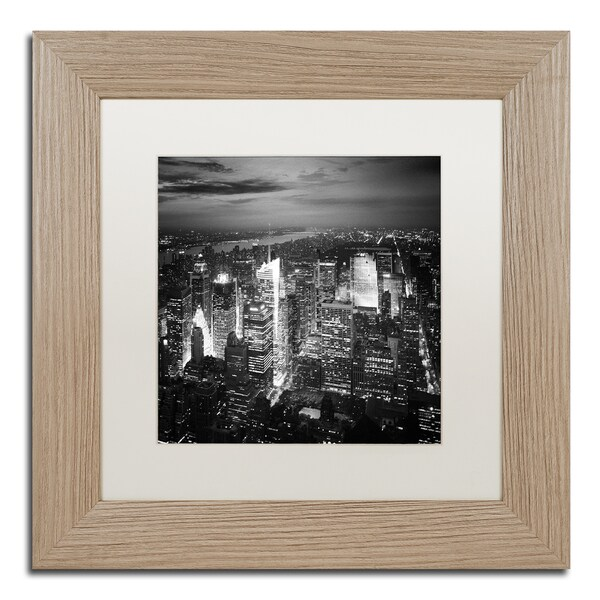 Nina Papiorek 'Times Square' White Matte, Birch Framed Wall Art