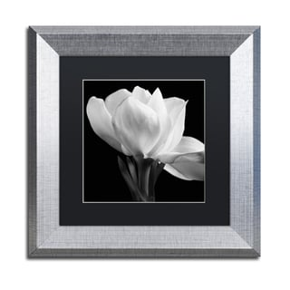Michael Harrison 'Gardenia' Black Matte, Silver Framed Wall Art