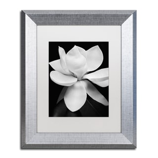 Michael Harrison 'Magnolia' White Matte, Silver Framed Wall Art