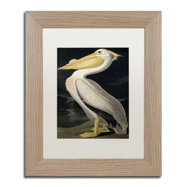 John James Audubon 'American White Pelican' White Matte, Birch Framed Wall Art