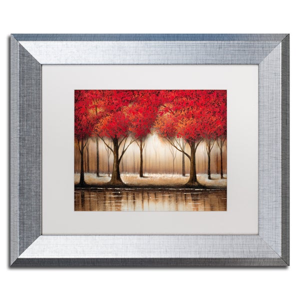 Rio 'Parade of Red Trees' White Matte, Silver Framed Wall Art