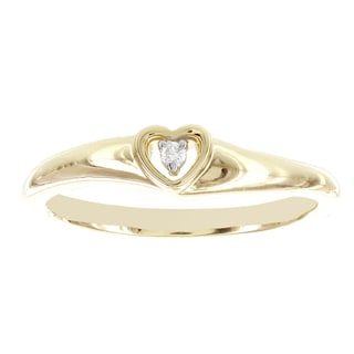H Star 10k Yellow Gold Diamond Accent Heart Promise Ring (I-J, I2-I3)