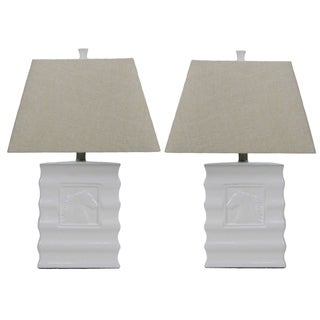 White Embossed Ceramic Horse Lamp (Set of 2)