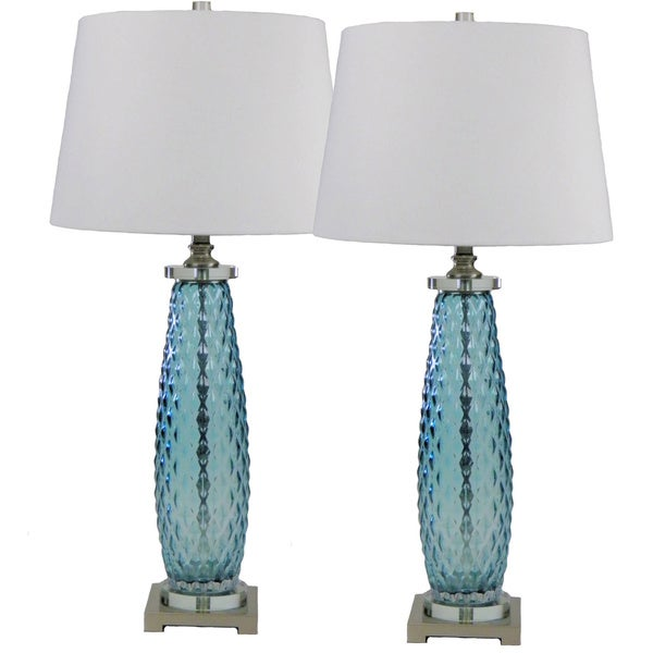 Blue Diamonds Lamp Set of 2