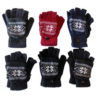Excell Unisex Snow Flake Fingerless Cuff Gloves/ Mittens (Set of 6)