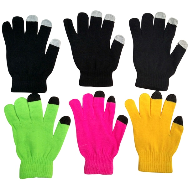 Excell Women's Touch Screen Winter Gloves, Texting Gloves (Set of 6 Pairs)