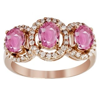 14k Rose Gold 1/4ct TDW Diamond and Pink Sapphire Ring