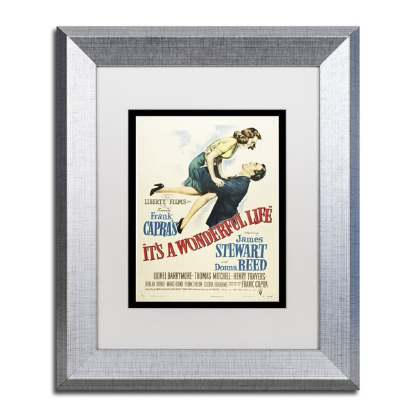 Vintage Apple Collection 'It's a Wonderful Life' White Matte, Silver Framed Wall Art