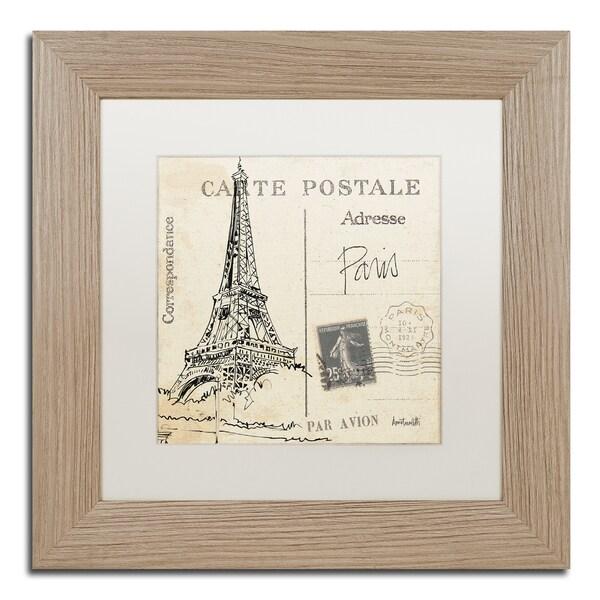 Anne Tavoletti 'Postcard Sketches III' White Matte, Birch Framed Wall Art
