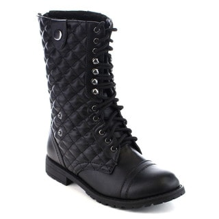 Beston Women's Quilted Lace Up Military Combat Boots