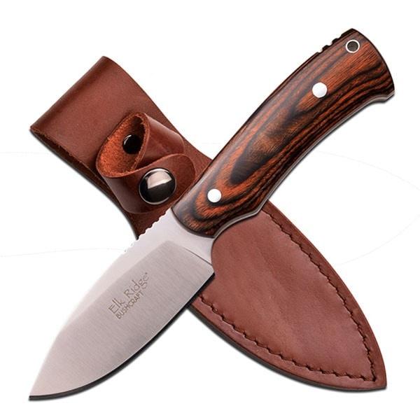 Elk Ridge 7.5-inch Satin Fixed Blade-Dark Brown Pakkawood Handle