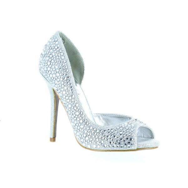 Urban Heels Women's Glitter/ Rhinestones Peep-Toe Pumps