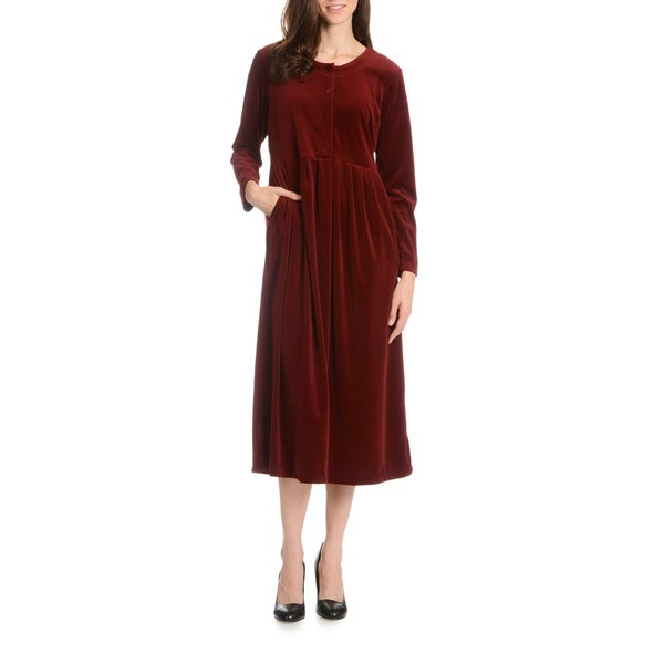 La Cera Women's Sheer Velour Dress