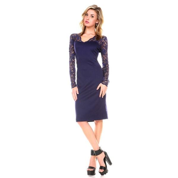 Stanzino Women's Bodycon V-neck Lace Dress