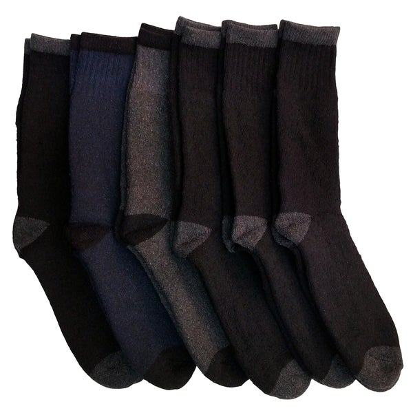 Excell Men's Thick Thermal Boot Socks, Temperature Rated, Cotton (Set of 6)