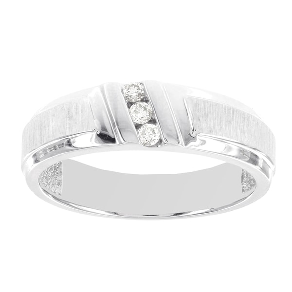 H Star 10k White Gold 1/10ct Diamond Mens Band Ring (I-J, I2-I3)