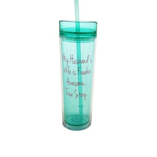 Mint Green and Pink Awesome Wife Hot/Cold Drink Tumbler with Straw