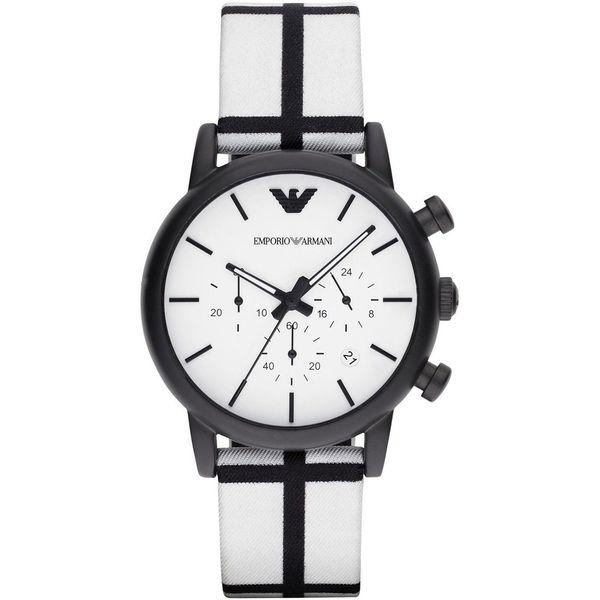 Emporio Armani Men's AR1859 'Luigi' Chronograph White Fabric Watch