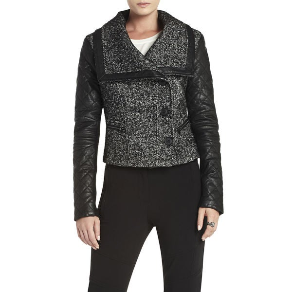BCBGMAXAZRIA Black Tweed Wool Leather Asymmetrical Jacket