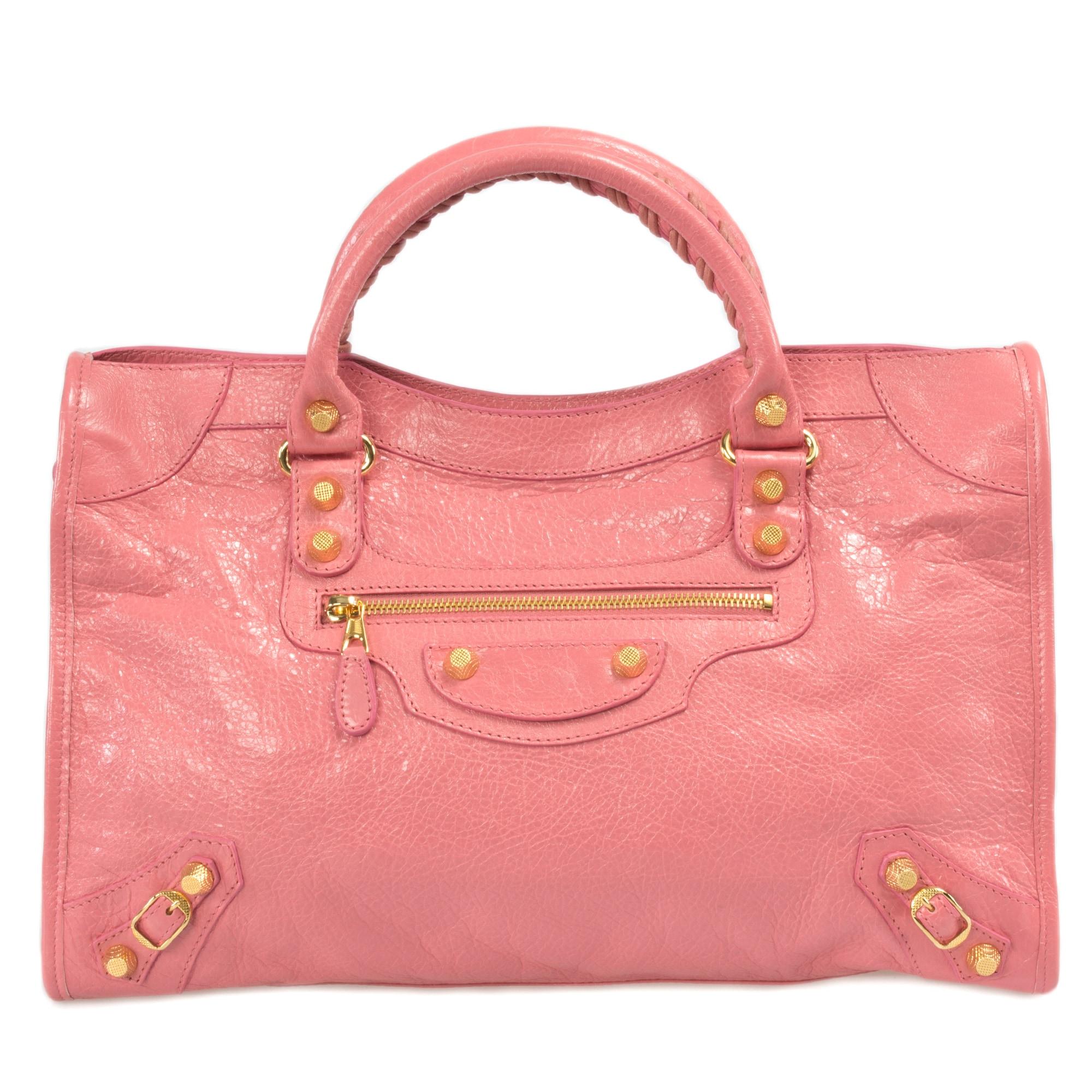 Balenciaga Giant 12 Gold City Medium Leather Bag in Rose Jaipur