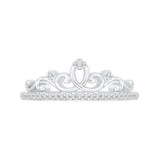 10k White Gold 1/8ct TDW White Diamond Crown Ring (G-H,I2-I3)