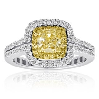18k White and Yellow Gold 1 1/3ct Diamond TCW Yellow and White Ring (SI1-SI2)