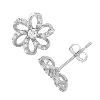 David Tutera 10k White Gold .28ct TDW Diamond Round Cut Flower Stud Earrings (I-J/I2)