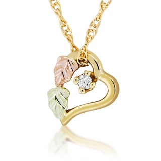 10k Yellow Gold and Black Hills Gold Diamond Accent Heart Pendant